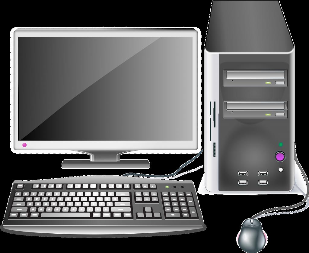 ordinateur, ordinateur de bureau, poste de travail
