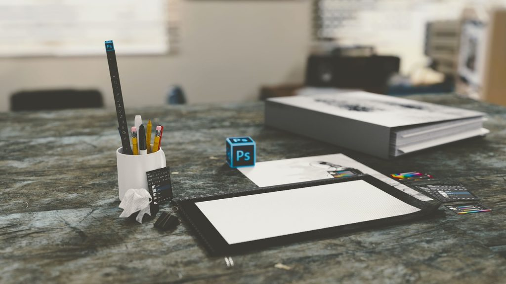bureau, ordinateur, technologie