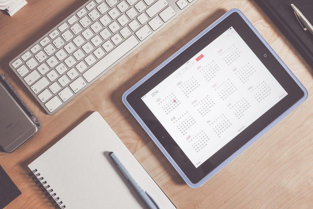 apple, calendrier, bureau